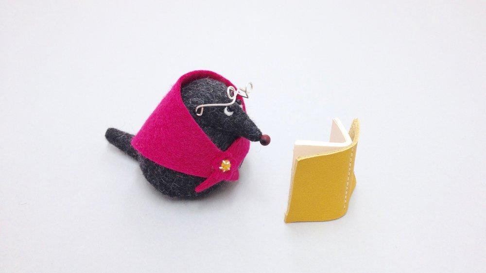 Bilberry Woods character Mrs Mole animal figurine handmade from wool felt by Laura Mirjami | Mirjami Design.