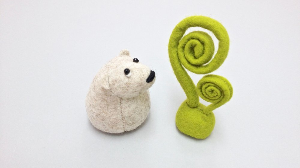 Bilberry Woods character Onni the Polar Bear animal figurine handmade from wool felt by Laura Mirjami | Mirjami Design.