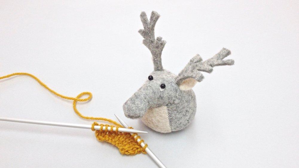 Bilberry Woods character Rupert the Reindeer animal figurine handmade from wool felt by Laura Mirjami | Mirjami Design.