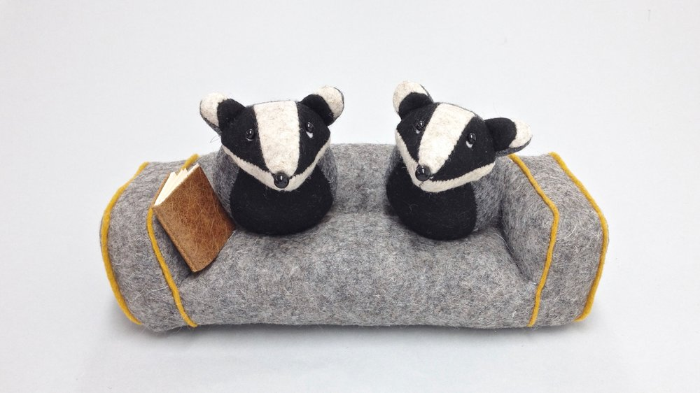 Bilberry Woods storybook character Bernard the Badger and his wife Mrs Higgins handmade from wool felt by Laura Mirjami | Mirjami Design.