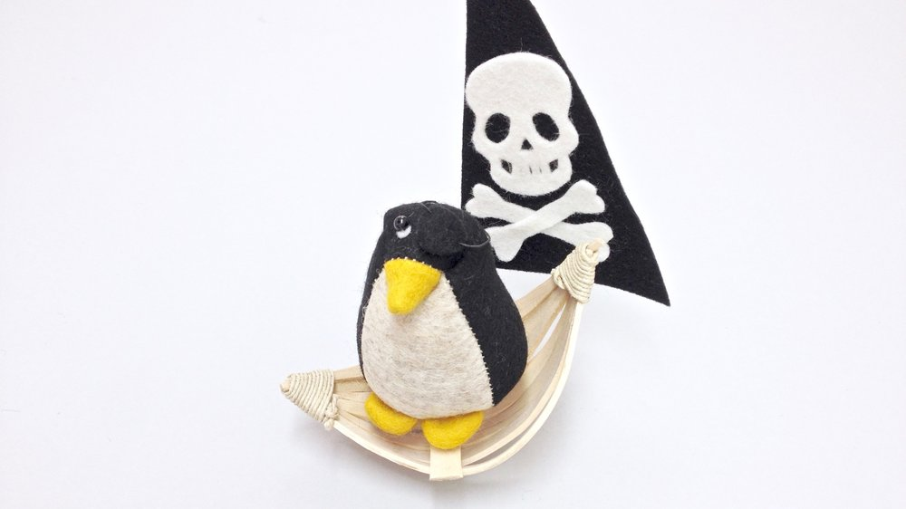Bilberry Woods character Pedro the Penguin handmade by Laura Mirjami | Mirjami Design.