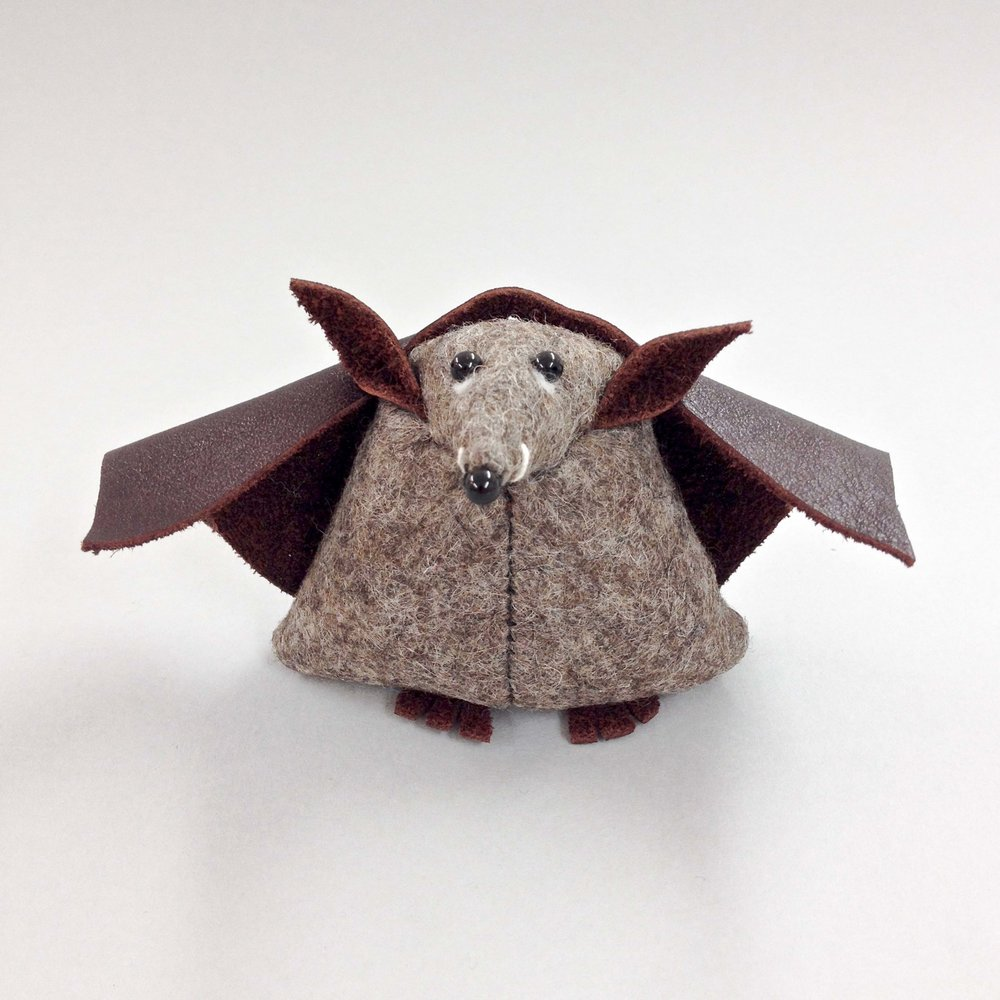 Bilberry Woods Character Benny The Bat handmade from polymer clay by Laura Mirjami