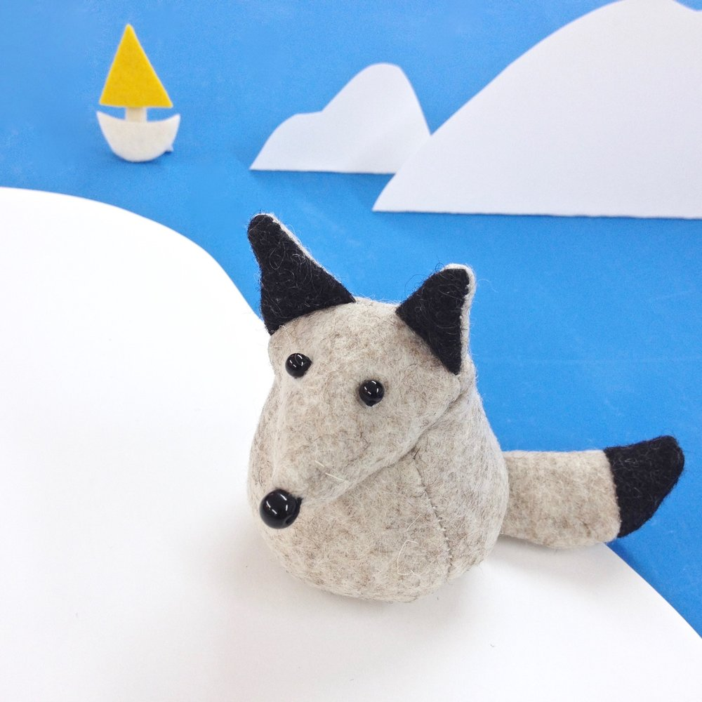 Bilberry Woods character Fleming the Arctic Fox soft sculpture wondering where he could travel next as he would love to be a travel photographer one day | by Laura Mirjami | Mirjami Design..jpg