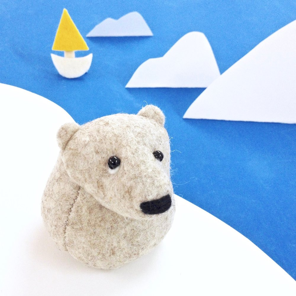 Bilberry Woods character soft sculpture Onni the Polar Bear, handmade from wool felt by Laura Mirjami | Mirjami Design..jpg