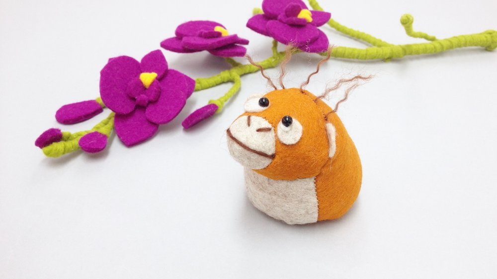 Bilberry Woods storybook character Oscar the Orangutan handmade from wool felt by Laura Mirjami | Mirjami Design.jpg