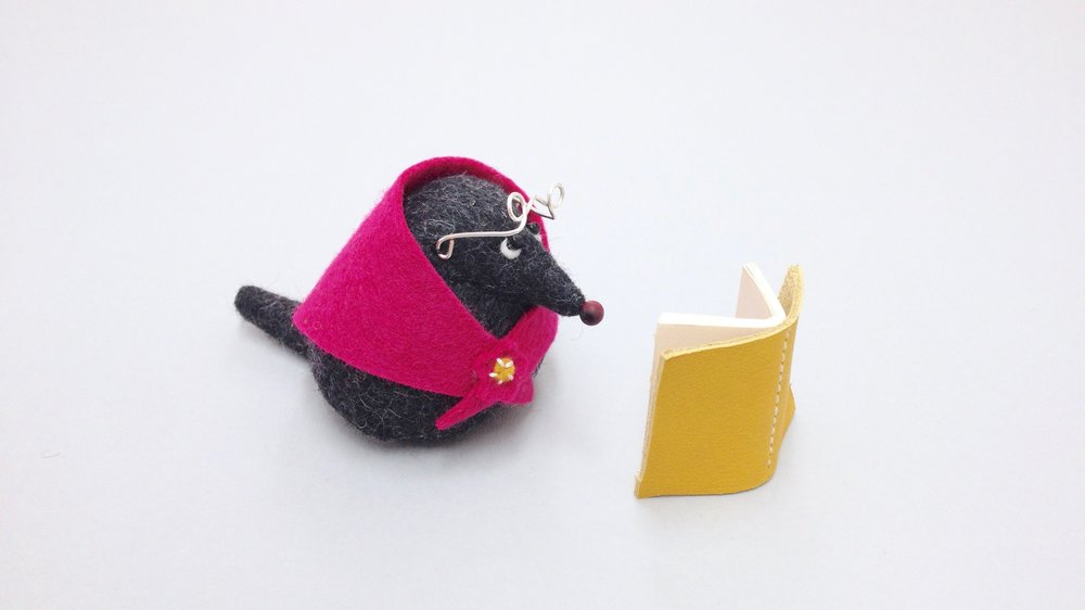 Bilberry Woods character Mrs Mole animal figurine handmade from wool felt by Laura Mirjami | Mirjami Design.jpg