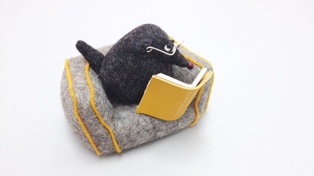 Bilberry Woods character Mr Mole animal figurine handmade from wool felt by Laura Mirjami | Mirjami Design.jpg