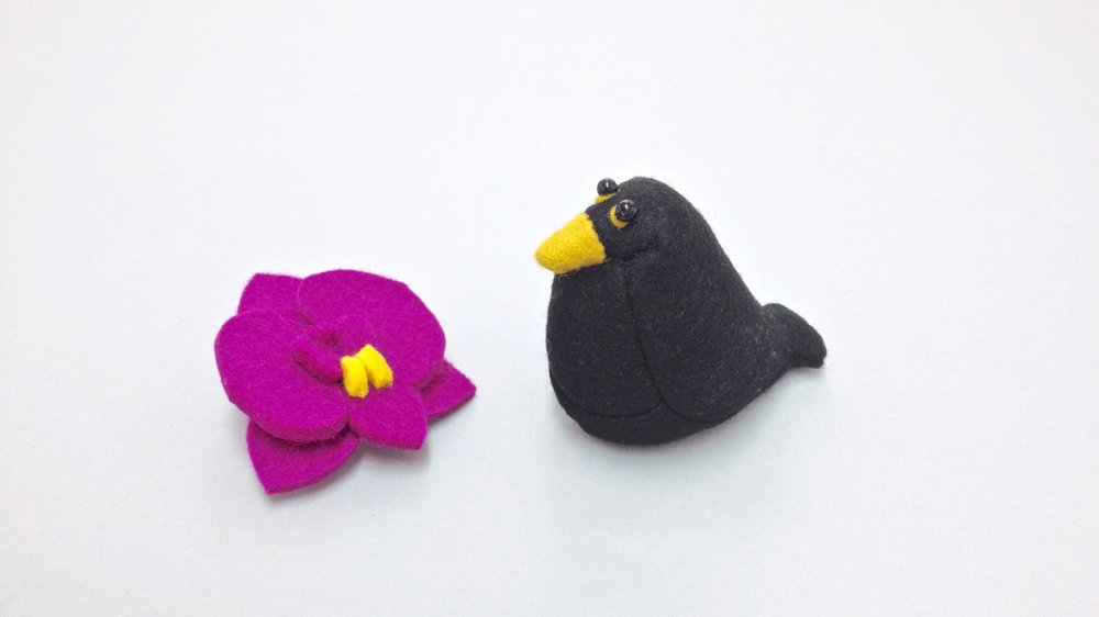 Bilberry Woods character Billy the Blackbird animal figurine handmade from wool felt by Laura Mirjami | Mirjami Design.jpg