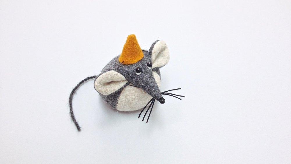 Bilberry Woods character Mika the Mouse animal figurine handmade from wool felt by Laura Mirjami | Mirjami Design.jpg