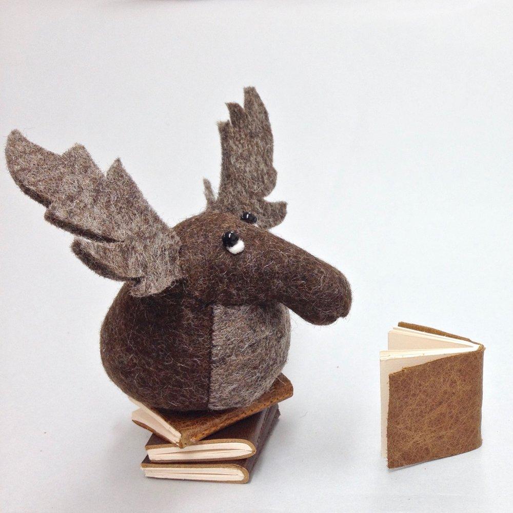 Mr Moose Bilberry Woods character in felt by Laura Mirjami