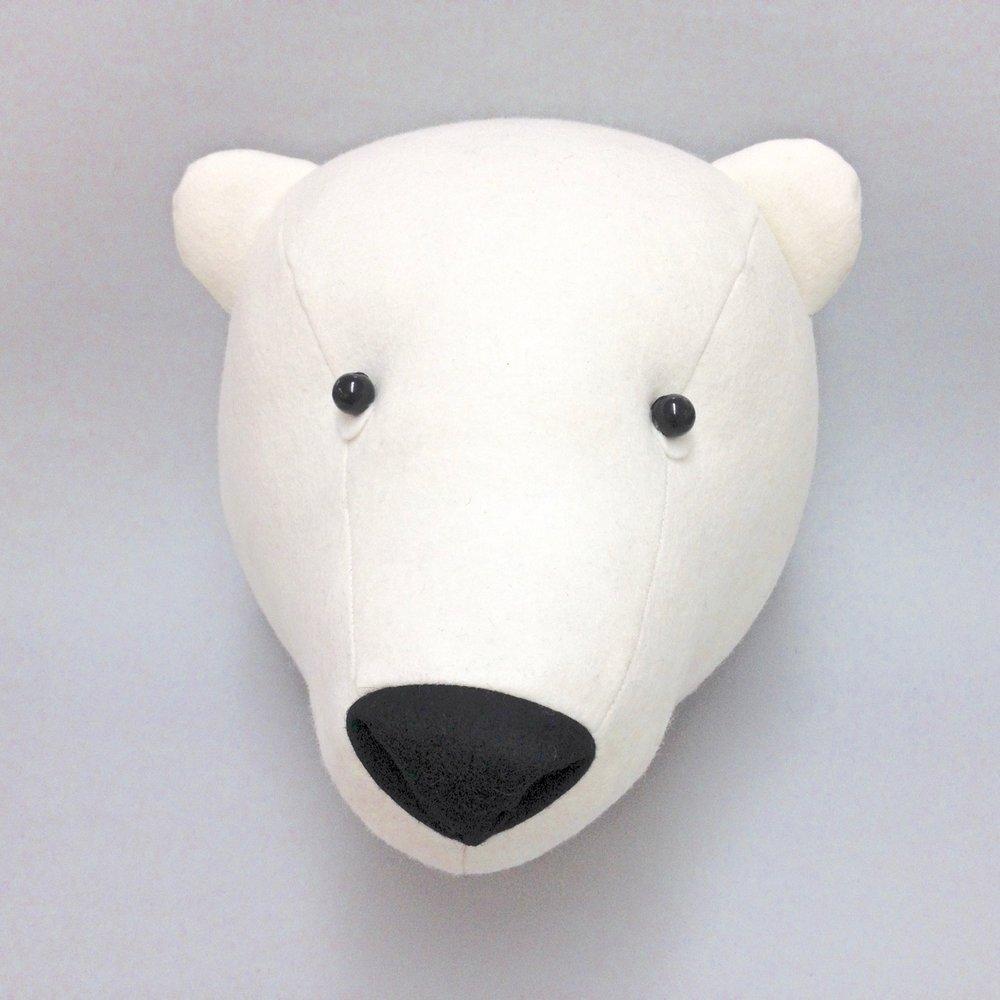 Felt Polar Bear Faux Taxidermy wall hanging by Laura Mirjami