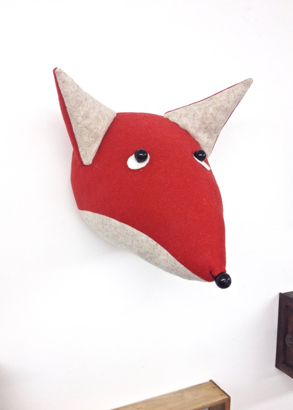Felt Fox Faux Taxidermy wall hanging by Laura Mirjami