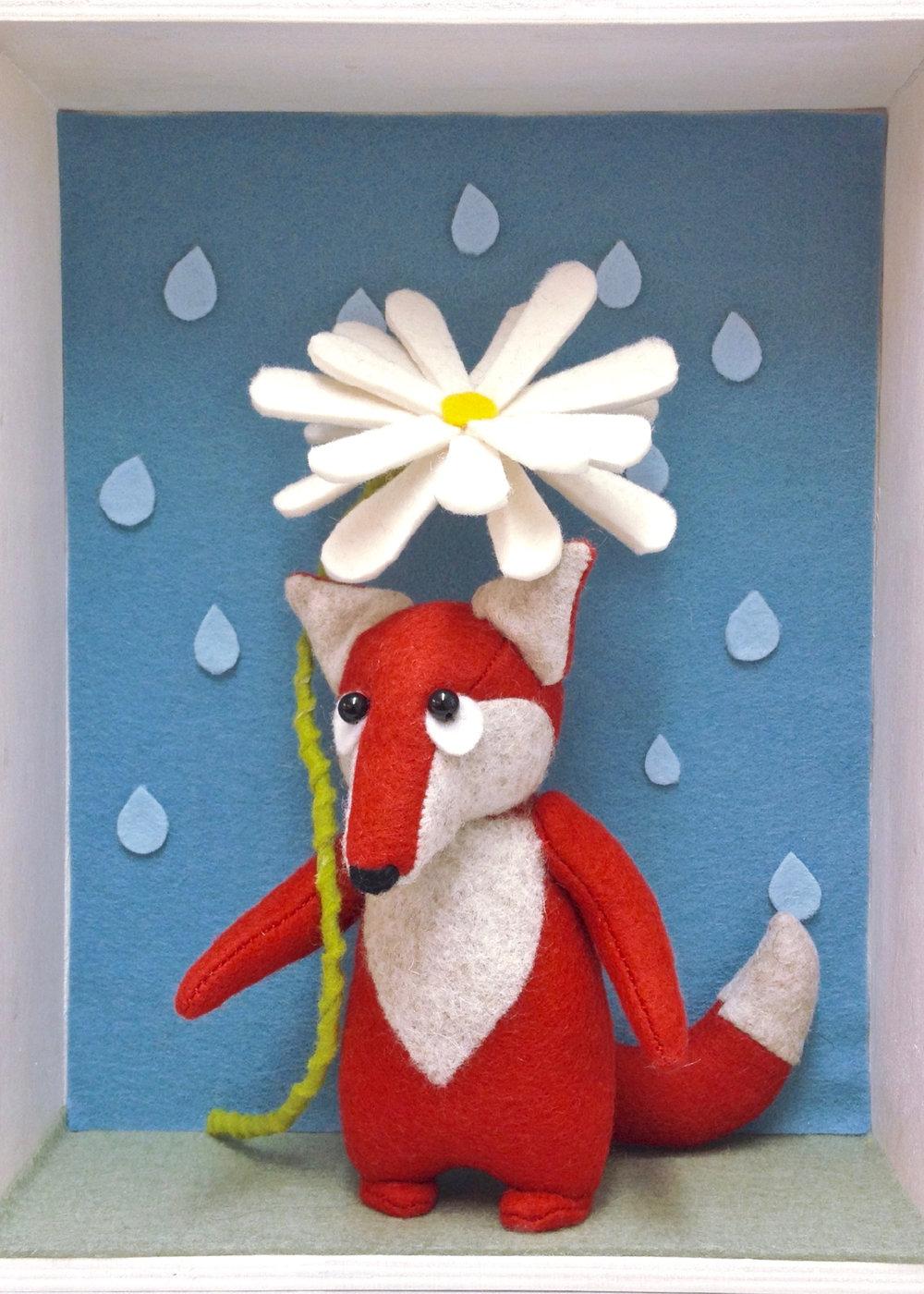 Bilberry Woods fox with a felt daisy umbrella by Laura Mirjami