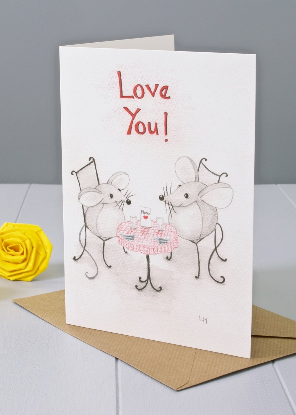 Bilberry Woods mouse character greeting card by Laura Mirjami   Yellow Rose Design
