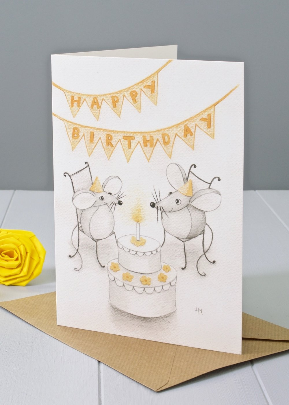 Bilberry Woods mouse character Happy Birthday greeting card by Laura Mirjami   Yellow Rose Design