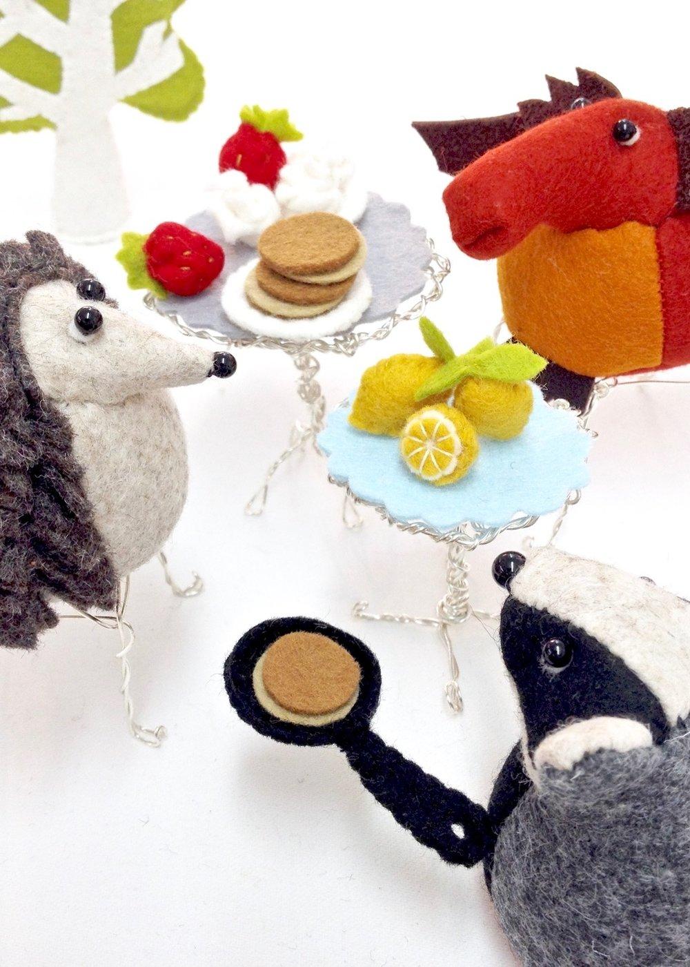 Bilberry Woods characters celebrating pancake day handmade by Laura Mirjami