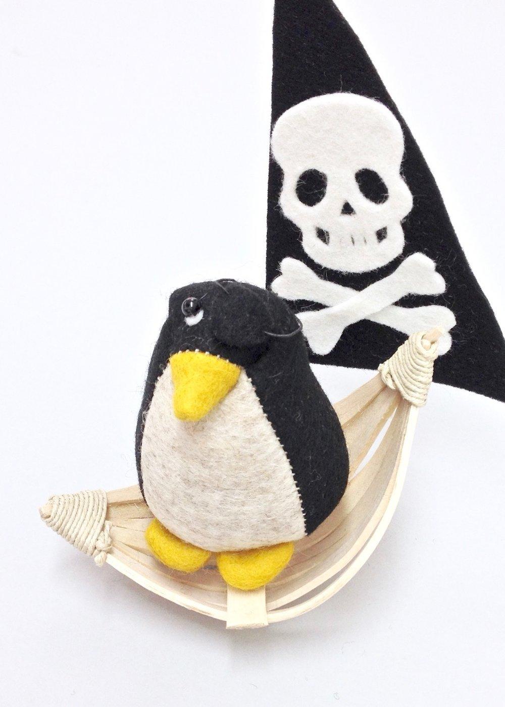 Pedro the Penguin wool felt Bilberry Woods character by Laura Mirjami
