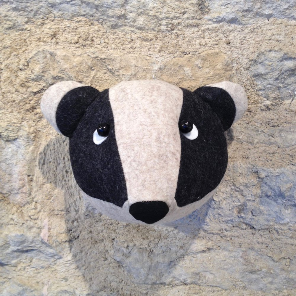 Wool felt badger wall head handmade by Laura Mirjami | Bilberry Woods.jpg