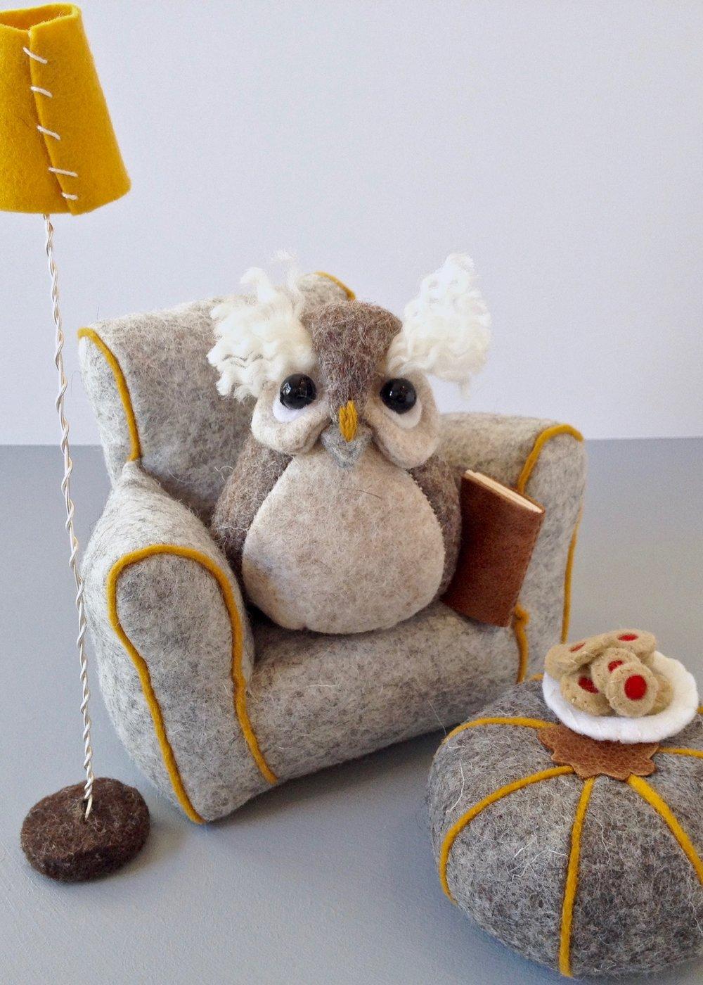 Bilberry Woods character Ollie the Owl soft sculpture wool felt figurine by Laura Mirjami