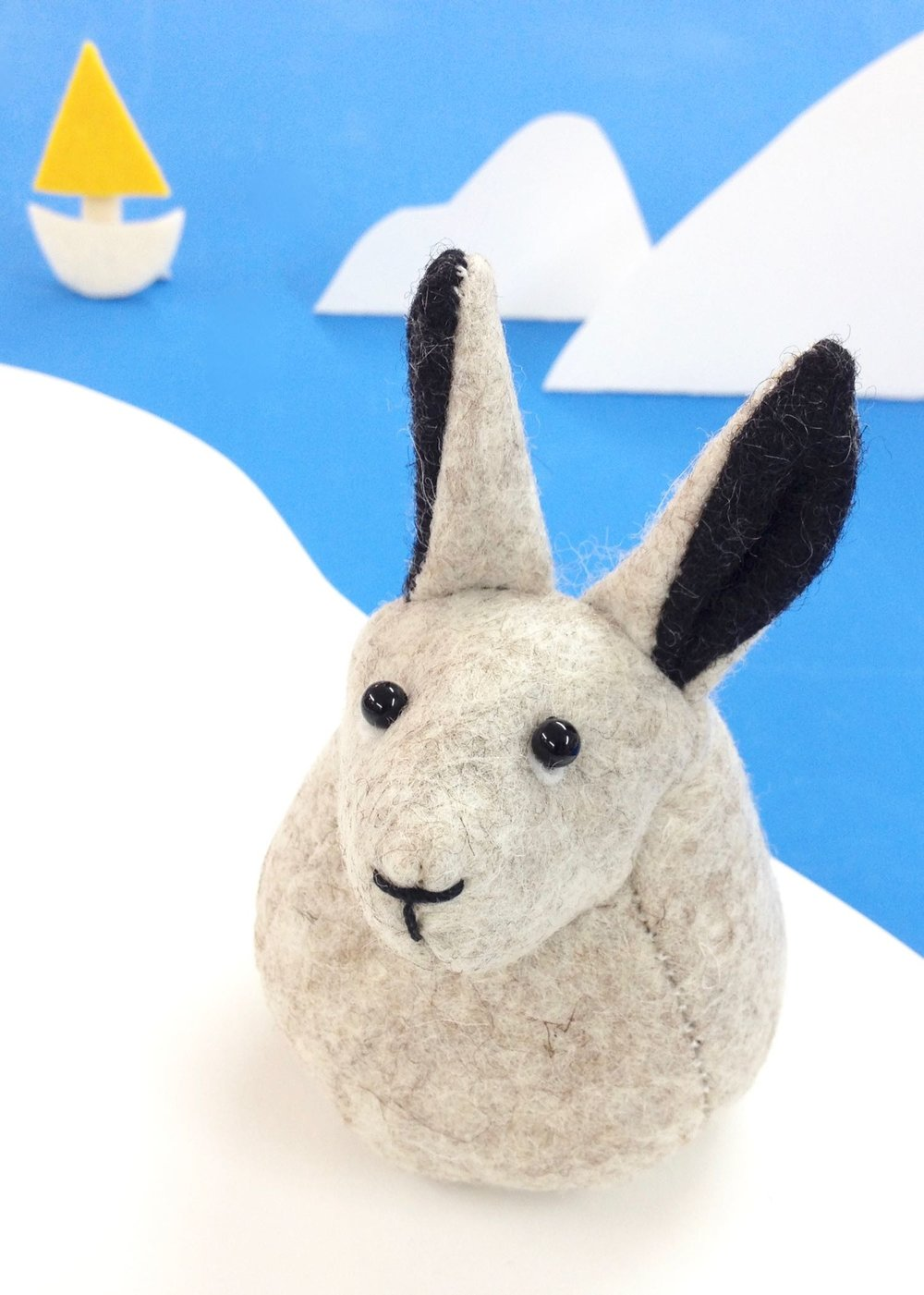 Bilberry Woods character Hector the Arctic Hare soft sculpture, handmade from wool felt..jpg