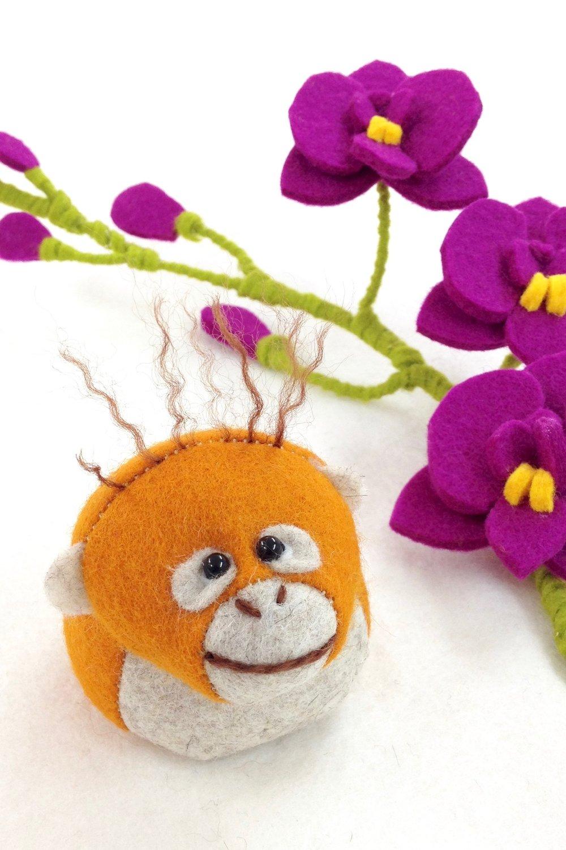 Bilberry Woods character Oscar the Orangutan felt paperweight handmade by Laura Mirjami | Mirjami Design..jpg