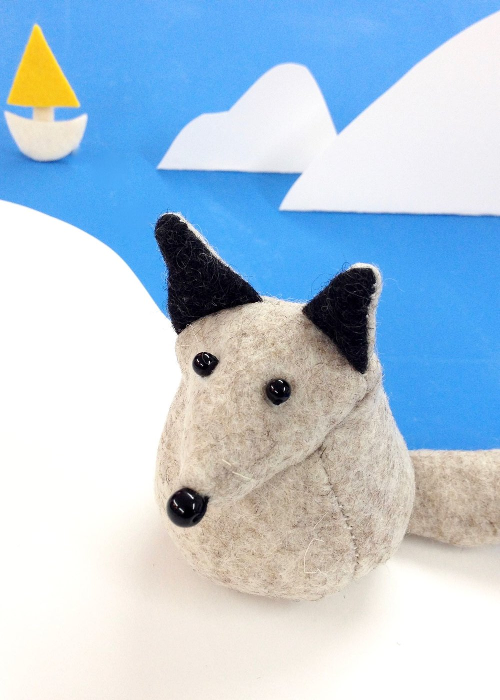 Bilberry Woods character Fleming the Arctic Fox soft sculpture by Bilberry Woods