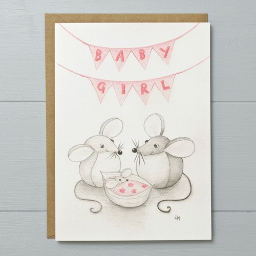 New baby girl mouse greeting card bilberry woods new baby girl mouse greeting card m4hsunfo