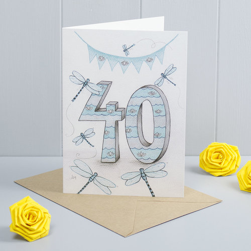 Dragonfly 40th Birthday Greeting Card Bilberry Woods