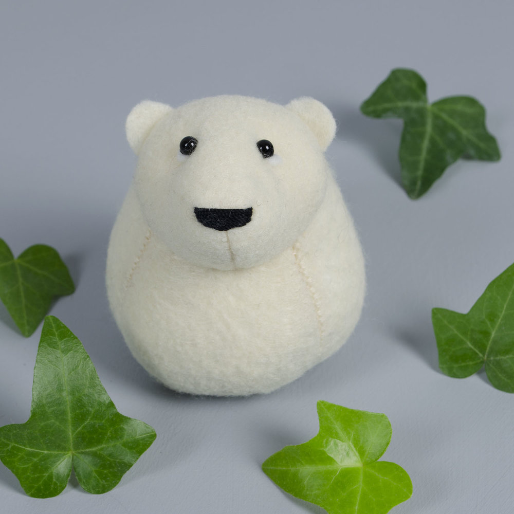 Onni the Polae Bear paperweight handmade from Kunin eco-fi felt made from plastic bottles   by Bilberry Woods.jpg
