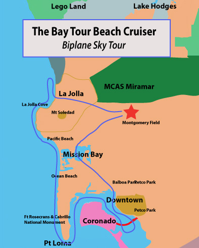 2nd Most Popular Tour - The Bay Tour Beach Cruiser in the Biplane!