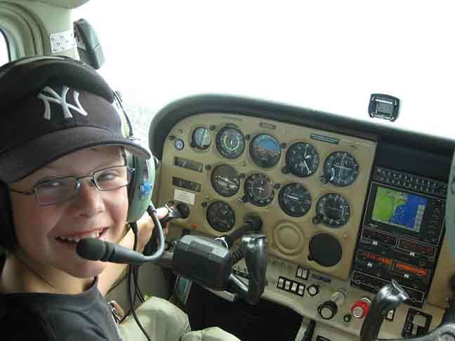 Young Maximillian flying a Cessna