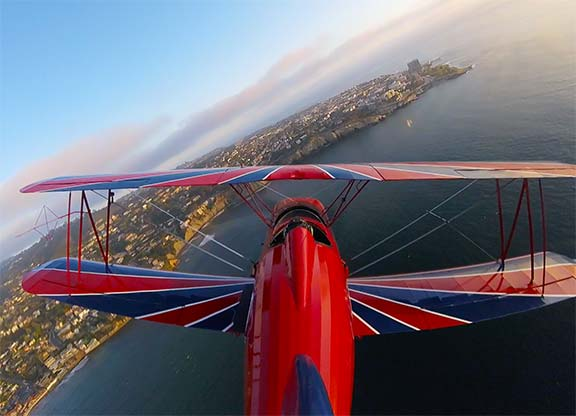 Biplane rides over la Jolla Cove. The best aerial tour or airplane ride. WE PROMISE!