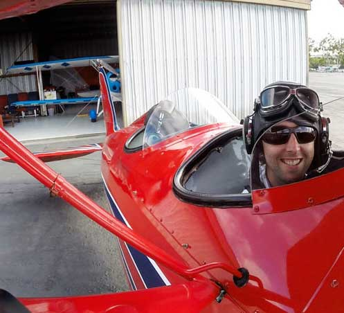Mike getting ready for his biplane ride over San Diego.