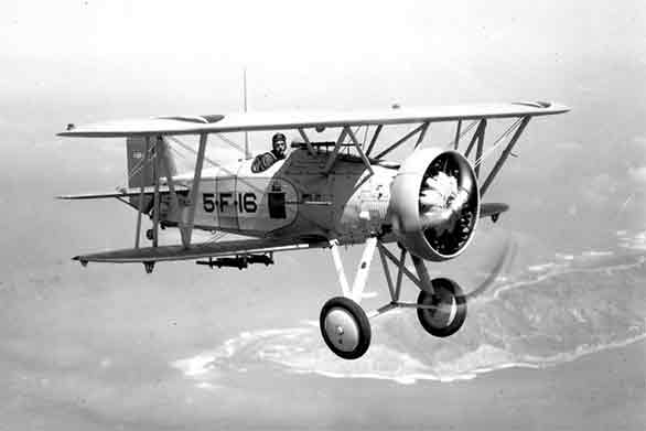 A post World War I Curtiss Biplane flying around Point Loma. This aircraft was based at North Island.