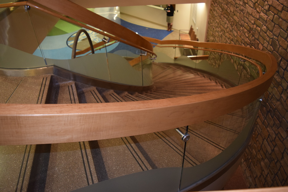 ARKANSAS CHILDREN'S HOSPITAL  Little Rock, AR  Elliptical shaped glass & wood guardrail and handrails