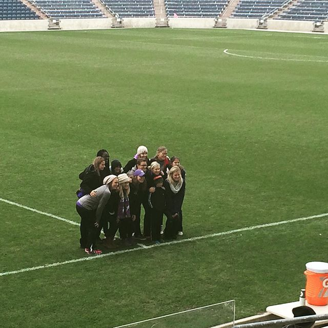 Erin and other NU women's soccer alums being acknowledged at Toyota Park today. Go Cats! @nuwsoccer @nu_sports