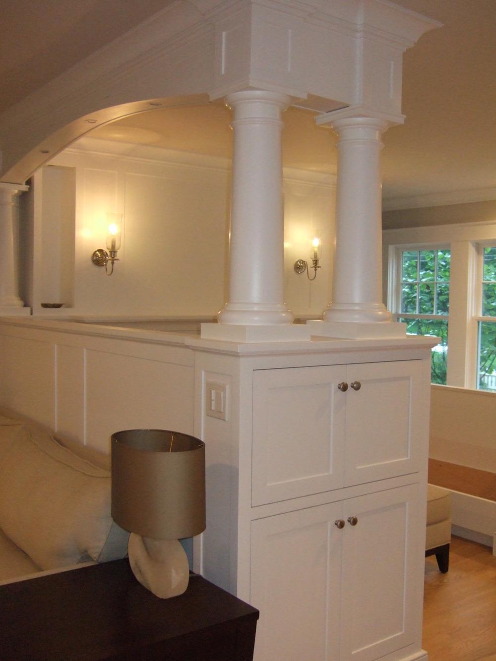 Darien LEED Home - Inglenook columns cabinets