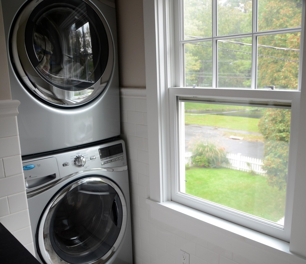Darien LEED Home - Laundry Room with stacked energy efficient washer dryer