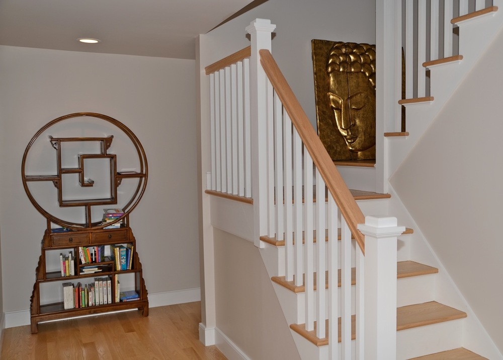Darien LEED Home - white Staircase with wood risers