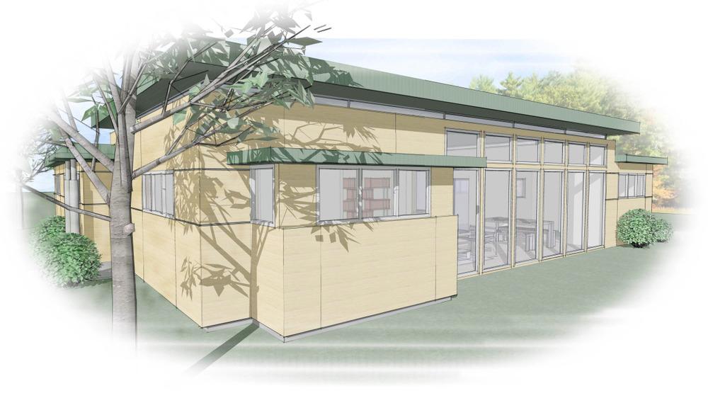 Trillium Architects 3 bar modern modular exterior front of house detail