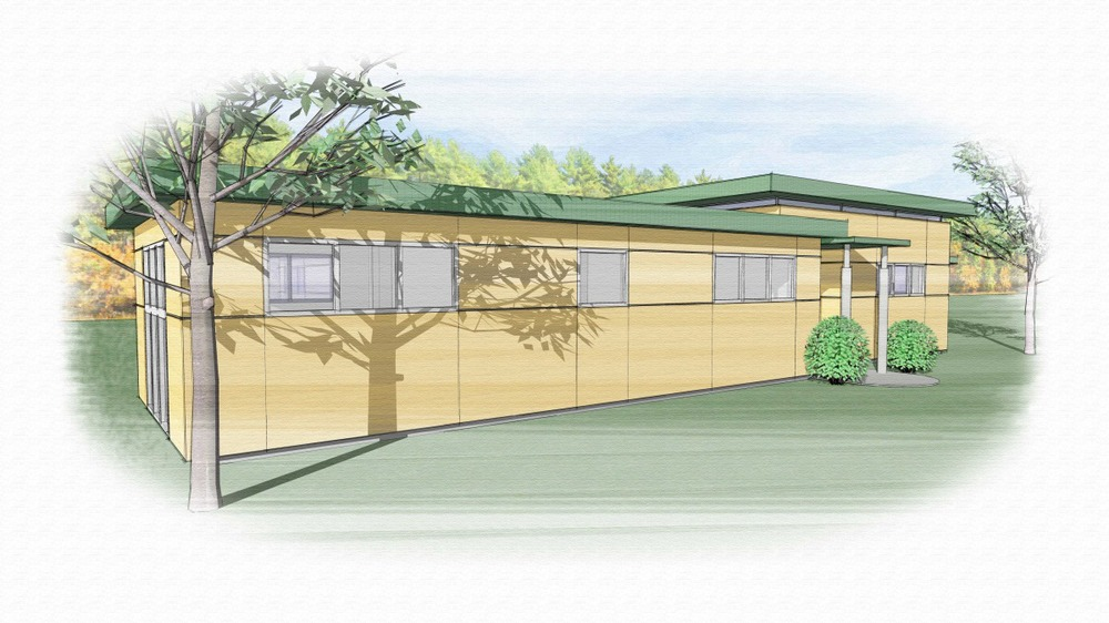 Trillium Architects 3 bar modern modular blonde exterior Front of house plans