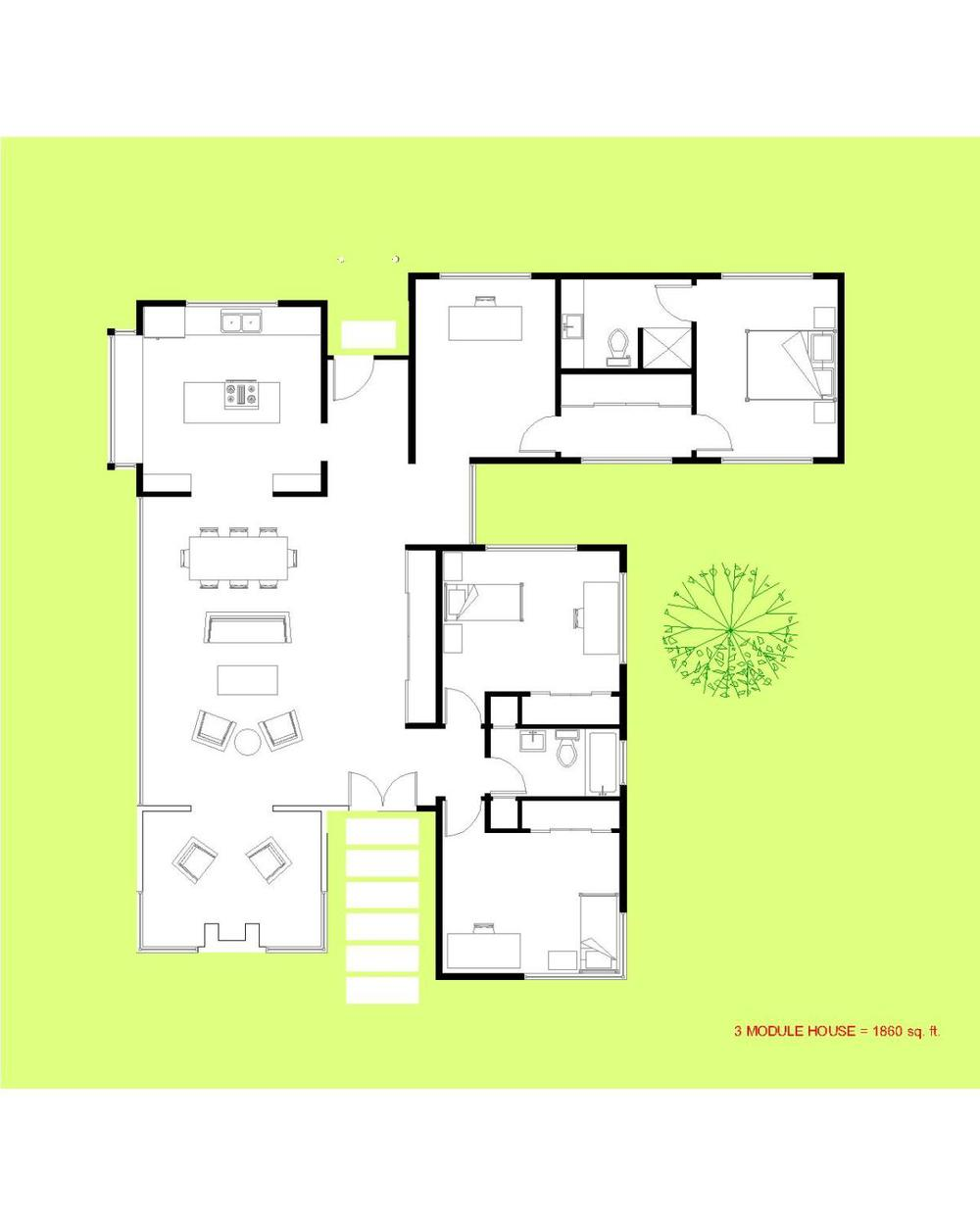 Trillium Architects 3 bar modern modular floor Plan