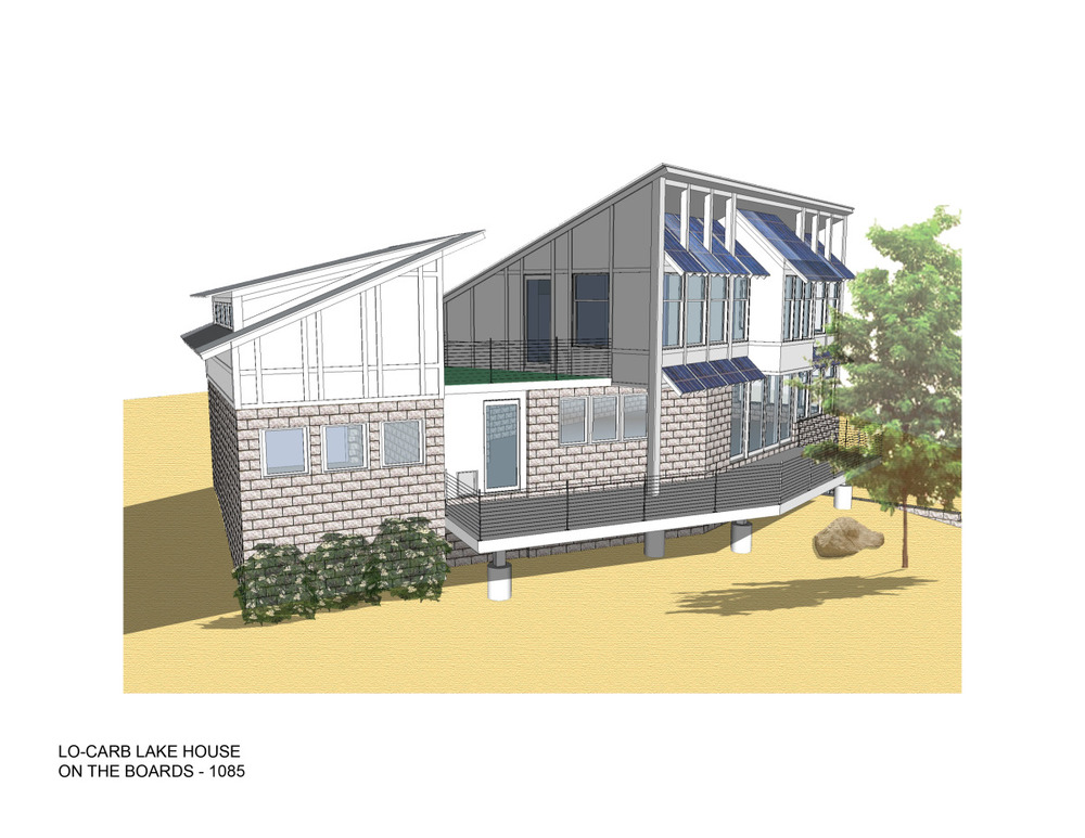 Trillium Architects Lo Carb Lake House exterior rear of house plans