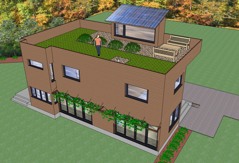 2 story modern trillium architects for House roof garden design