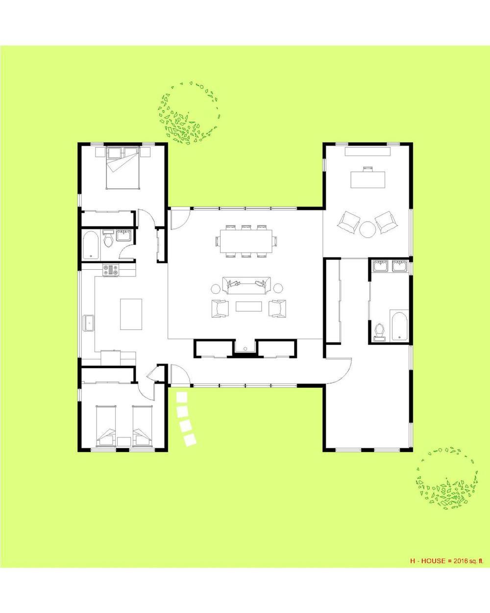 Trillium Architects H House 1 Story Modern Floor Plan Design Inspirations