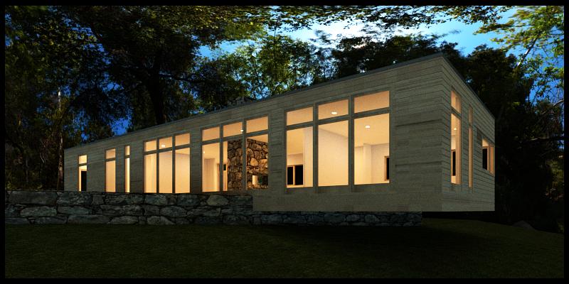 Trillium Architects green modern lake home exterior plans energy efficient