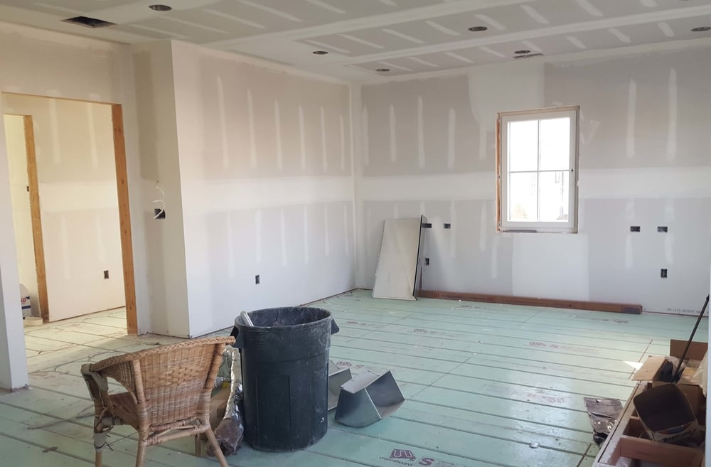 Sheet rock is up and radiant floors are installed throughout the home.