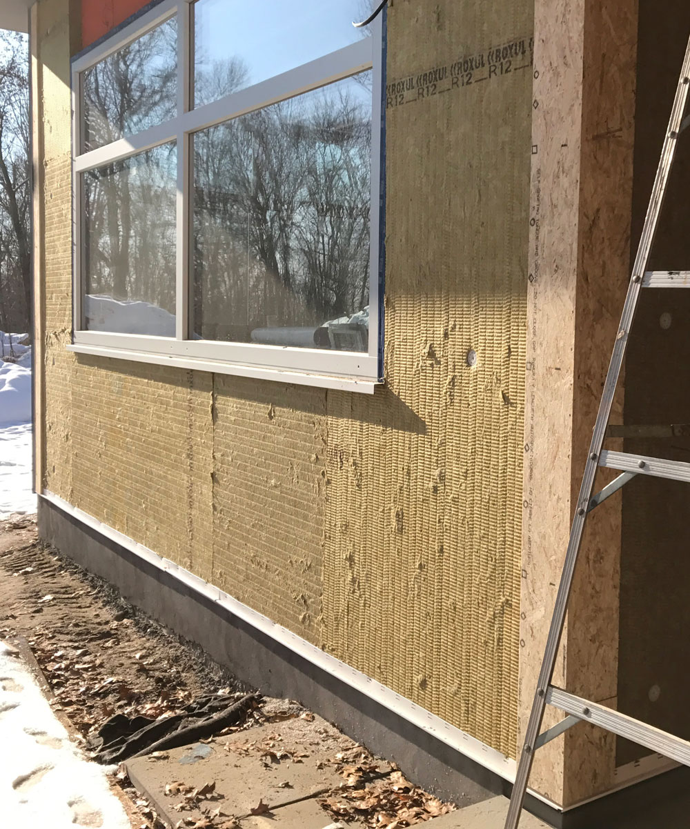 Exterior rigid mineral-wool insulation