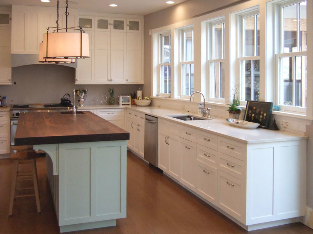 A non-toxic kitchen built with Forestry Service Certified (FSC) wood, no-VOC finishes, and a no maintenance, no-VOC Quartz countertop