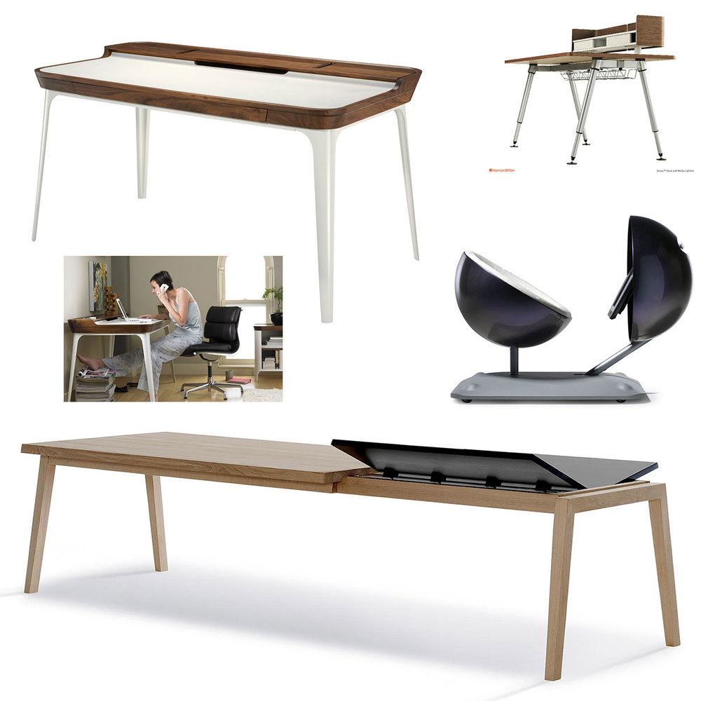 Clockwise: Herman Miller Airia Desk, Herman Miller Sense Desk, Michael van der Kley - The Globus Mobile Work Station, Strand + Hvass - SH-900 Extend Table.